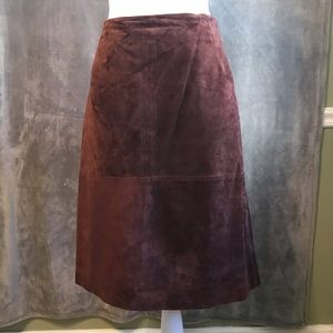 Newport News Brown Suede Leather Mini Skirt 28W